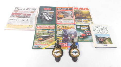 Two horse brasses bearing vintage car plaques for an Aston Martin 1930 and a Bugatti 1928, by James Jones Saddler, together with BRM Day Bourne 2012 Souvenir programme., Traction and Railway magazines., Shuttleworth & Nuffield Memorial Trophies 2009 Offi