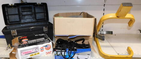 Assorted car and bike parts, a bike lift, JVC CD receiver, etc. (a quantity)
