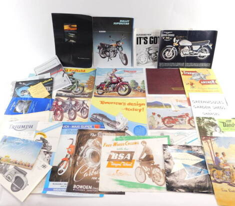 Motorcycle brochures and engine leaflets, including Royal Enfield, Triumph, BSA, and the Motorcycle Buyer's Guide 1957. (a quantity)