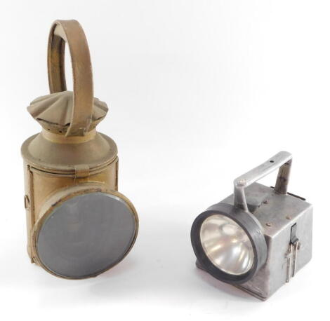 An LNER railway lamp, stamped LNER LOCO, gold painted, 31cm high, together with a Bardic Ltd Southampton railway lamp, 15cm high. (2)