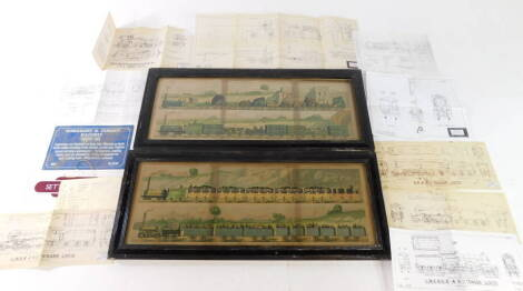 A pair of 19thC prints, Travelling on The Liverpool and Manchester Railway 1831, plates I-IV., a Train of The First Class of Carriage with the Mail., a Train of The Second Class Outside Passangers with three Third Class Carriages behind., a Train of Wagon