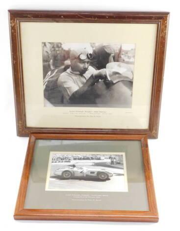 A Jarrott's Motor Racing photograph, of Juan Manuel Fangio, in a Mercedes Benz, Grand Prix de Monaco 1955, signed by Fangio, with certificate, 13.5cm high, 22cm wide.., and a further photograph of Fangio in an Alfa Romeo, Grosser Preis der Schweiz, Brenga