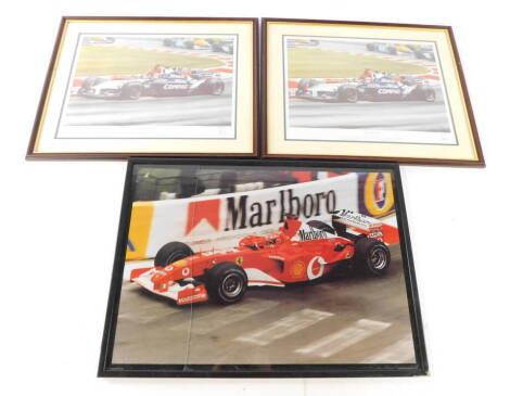 After Robert Tomlin. Clash of The Titans, two artist signed limited edition prints, no 31/500 and 33/500, together with a further racing print. (3)
