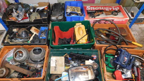 Assorted car and engine parts, tools, battery charger, snow grips, etc. (a quantity)