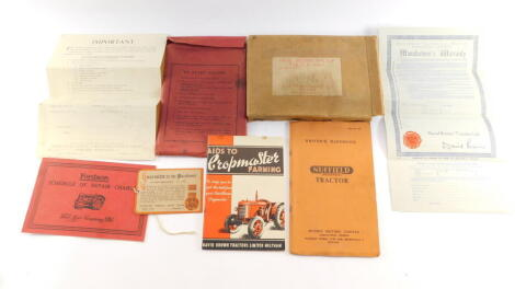 A Nuffield Universal Tractor Driver's Handbook., Fordson Schedule of Repair Charges 1933., David Brown Tractor's Ltd Aids to Crop Master Farming., David Brown Tractor's Ltd Manufacturers Warranty No 22037., etc. (a quantity)