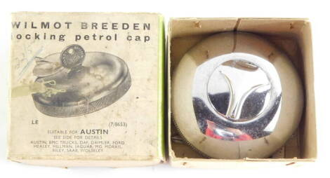 A Wilmot Breeden locking petrol cap, suitable for Austin and other cars, LE (7/8653), with key, boxed.