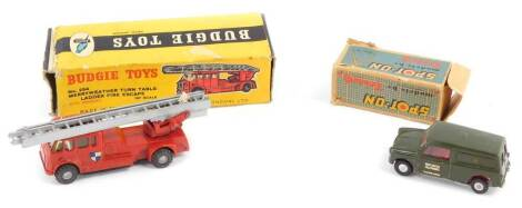 A Budgie Toys Merryweather Turntable Fire Engine, No 254, together with a Spot-On Morris GPO Telephone Mini van, No 210/2., both boxed. (2)