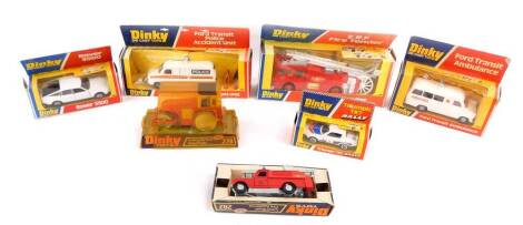 Dinky die cast vehicles, comprising a Ford Transit Police Accident Unit 269., ERF Fire Tender 266., Ford Transit Ambulance 276., Triumph TR7 Rally 207., Rover 3500 180., Aveling - Barford Diesel Roller 279., and a Landrover Fire Appliance 282, all boxed.