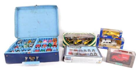 Lesney Matchbox and other die cast racing cars, trucks, diggers, motor vehicles, etc., together with a Corgi Porsche 956 C100., Range Rover C597/3., further vehicles and a Warhammer paint set. (a quantity)