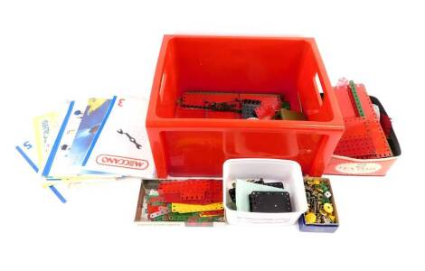 Meccano, including a motor, together with leaflets, booklets, etc. (a quantity)