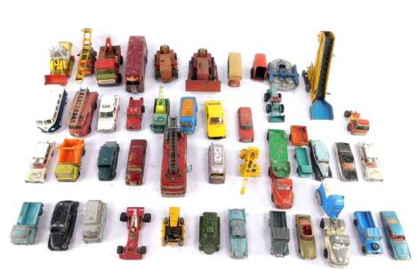 Dinky Corgi and other die cast vehicles, play worn, including a Merryweather Marquis Fire Tender., HDL Hovercraft., Blaw Knox Bulldozer., Horse Box., an Elevator Loader., and a JCB 110B. (a quantity)