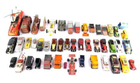 Dinky Corgi and other die cast vehicles, play worn, including a turntable fire escape., Chubb Pathfinder Airport Crash Truck., 007 Aston Martin DB5., and a Sierra RS500 Cosworth. (a quantity)