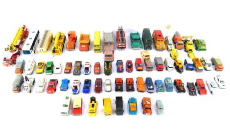 Corgi Dinky and other die cast vehicles, play worn, including an Atlantean Bus., Aerial Rescue Tractor., Plaxtons Paramount 3500 National Express Coach., Bedford Truck., and a Hercules Mobile Crane. (a quantity)