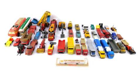 Corgi Dinky and other die cast vehicles, play worn, including a Scammell Semi Trailer, Lincoln Continental with Lehmann-Peterson body work., NCB electric van., Nash Rambler., and a Bedford AA Van. (a quantity)