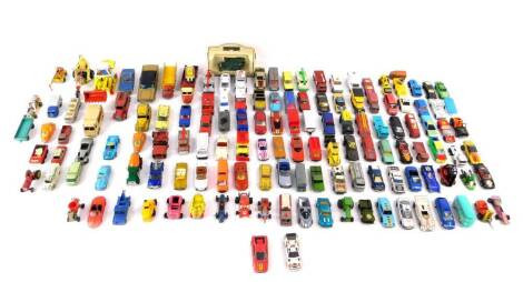 Lesney Matchbox and other die cast vehicles, play worn, including racing and rally cars, trucks, cranes and lorries. (a quantity)