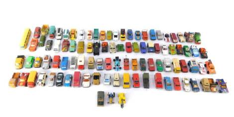 Lesney Matchbox Ertl and other die cast vehicles, play worn, including Batmobile., Mickey Mouse in a fire engine., racing and rally cars, trucks, cranes and lorries. (a quantity)