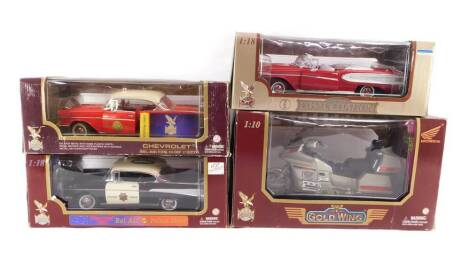 Three Road Legends die cast vehicles, comprising a Bel Air Police Chief Chevrolet 1957, scale 1:18., Bel Air Fire Chief 1957., and a Honda Goldwing Motorcycle, scale 1:10., together with a Road Signature die cast model of an Edsel Citation 1958, scale 1:1