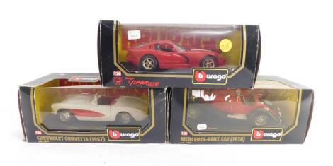 Three Burago die cast cars, 1:24 scale, comprising Dodge Viper GTS Coupe (1997)., Chevrolet Corvette (1957)., and a Mercedes Benz SSK1928, all boxed.