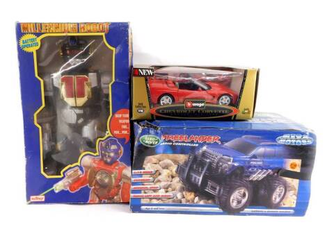 A Telitoy battery operated Millennium Robot, together with a Mega Motors radio controlled Landrover Freelander., and a Burago die cast model of a Chevrolet Corvette, Convertible 1998, scale 1/18, COD3386, all boxed. (3)