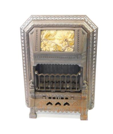 A Victorian cast iron and enamel gas heater by T Fletcher of Warrington, cast with leaves, the hood bearing registration lozenge, 72.5cm high, 55cm wide, 14cm deep. Auctioneer Note: We have specific vendor instructions to sell WITHOUT RESERVE.