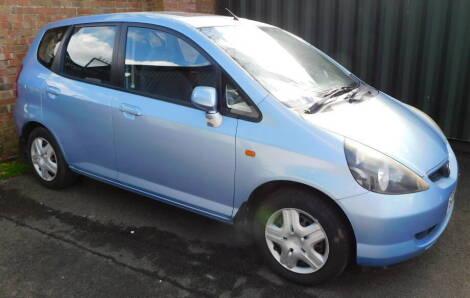 A Honda Jazz SE CVT, Registration SC04 JNV, 5 door hatchback, petrol, 1339cc, blue, first registered 01/07/2004, V5 present, 58,399 recorded miles. To be sold upon the instructions of the Executors of Ellen Edith Wood (Dec'd).