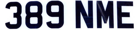 389 NME. A cherished registration plate, currently held on retention. To be sold upon instructions from the executors of Nigel Burn (Dec'd). For sale by Tender. Final bids to be submitted by 1pm Wednesday 24th March.
