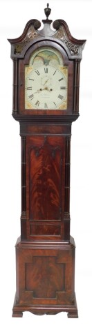 Joseph Wilson of Stamford. An early 19thC flame mahogany longcase clock, the enamel break arch dial with moon phase, painted spandrels of cornucopia, the dial bearing Roman numerals, subsidiary seconds dial, eight day two train movement with bell strike,