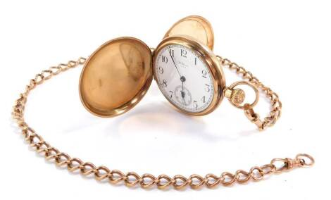 A George V 9ct gold gentleman's hunting cased pocket watch, keyless wind, dial bearing Arabic numerals, subsidiary seconds dial, A.W.W.Co., movement, Waltham., USA., the case of plain form front cover monogram engraved, 90.3g., together with a 9ct curb li
