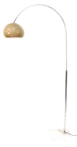 A 1970's arc style floor lamp, probably by the Guzzini Brothers, Recanati, Italy, the steel arch terminating in an adjustable brown mushroom perspex shade, raised on a rectangular carrara marble base, 225cm high.