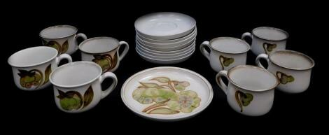 A Denby pottery part tea service decorated in the Troubadour pattern, comprising four tea cups, eight saucers and a tea plate.