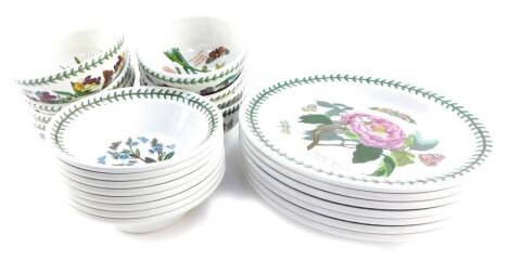 A Portmeirion pottery part dinner service decorated in the Botanic Garden pattern, comprising seven dinner plates, eight fruit bowls and eight cereal bowls.
