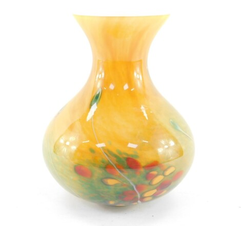 A Soisy Essonne glass vase decorated in the Esso pattern, of baluster form, etched mark, 21cm high.