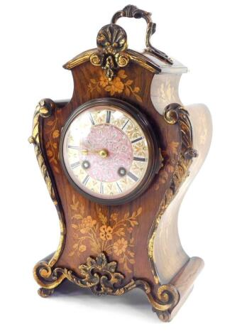 A French late 19thC rosewood and inlaid mantel clock, by Jean-Baptiste Delettrez., for Watson of Kings Street, Cheapside, London., the jeweled porcelain dial bearing Roman numerals, eight day movement with bell strike, the case of vase form inlaid with fl