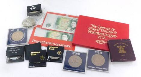 A Royal Mint proof set The Coinage of Great Britain and Northern Ireland 1973., commemorative crowns, Festival of Britain crown 1951., two mint uncirculated bank notes, Chief Cashier D F Somerset. (a quantity)