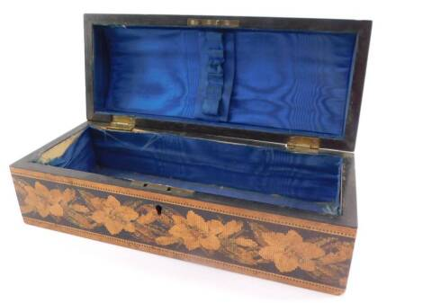 A Victorian Tonbridge ware casket, by T Barton late Nye, Manufacturer of Mount Ephraim., Tonbridge Wells., the casket of domed form, the lid decorated with geometric and repeating floral inlay, the box with a band of flowers, bears paper label, 9cm high,