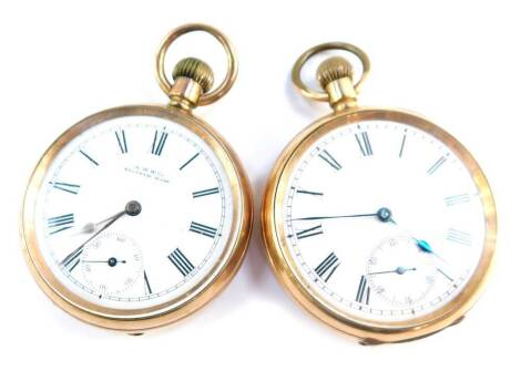 A Labrador gentleman's gold plated pocket watch, open face, keyless wind, circular enamel dial, bearing Roman numerals, subsidiary seconds dial, the case of plain form, together with an AWW Company Waltham gentleman's gold plated pocket watch, open face,