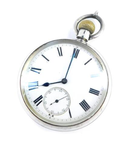 A Victorian gentleman's silver cased pocket watch by Thomas Peake, 118 Waldorf Street, London., keyless wind, circular enamel dial bearing Roman numerals, subsidiary seconds dial, movement no 176547, the case of plain form, Birmingham 1896.