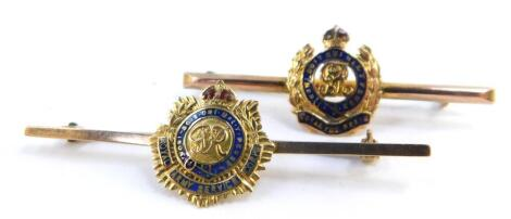 A 9ct gold and enamel George V Royal Engineers bar brooch, together with a 9ct gold George VI Royal Army Service Corp bar brooch, 5.5g. (2)