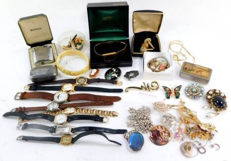 Silver and costume jewellery, including brooches, lady's wristwatches, pendants on chains, together with a Ronson pocket lighter, snuff boxes, etc. (a quantity)