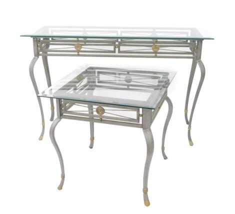 A glass topped silvered metal Roman style console table, 77cm high, 122cm wide, 42cm deep, and a matching coffee table, 59.5cm high, 61cm wide, 61cm deep. (2)
