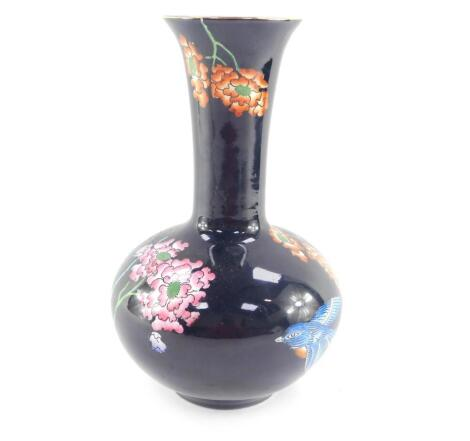 A Wood & Sons late 19thC pottery vase decorated in the Formosa pattern, pattern no X591., printed and painted marks, 26.5cm high.
