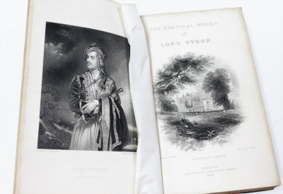 Byron (George Gordon, Lord). The Poetical Works, frontis piece, engraved title plates, tissue guard, illustrated, contemporary leather, binding with marble boards and morroco spine, pub. John Murray 1859. - 2