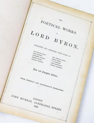 Byron (George Gordon, Lord). The Poetical Works, frontis piece, engraved title plates, tissue guard, illustrated, contemporary leather, binding with marble boards and morroco spine, pub. John Murray 1859. - 3