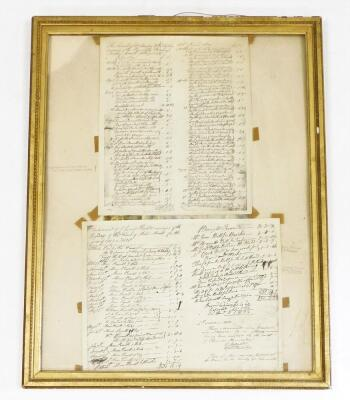 Copies of handwritten lists of 'Insane Luneticks', circa 1830, and Disbursements of Clement Surveyor of the Highways of the Parish of Morton Morrell, for the years 1827 and 1820, framed and glazed.