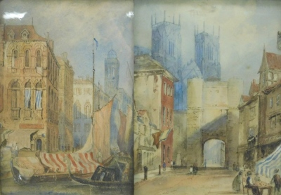 19thC English School. A view of York Minster through the stone gateway and Shambles with figures and a companion picture of a Venetian scene with boats and figures, watercolours, 27cm x 21cm and 27cm x 18cm respectively.