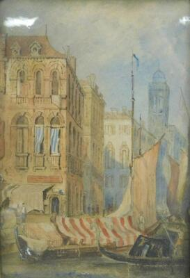 19thC English School. A view of York Minster through the stone gateway and Shambles with figures and a companion picture of a Venetian scene with boats and figures, watercolours, 27cm x 21cm and 27cm x 18cm respectively. - 2