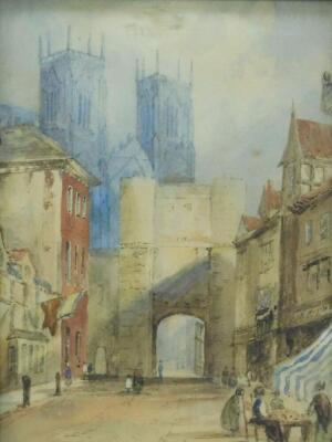 19thC English School. A view of York Minster through the stone gateway and Shambles with figures and a companion picture of a Venetian scene with boats and figures, watercolours, 27cm x 21cm and 27cm x 18cm respectively. - 3