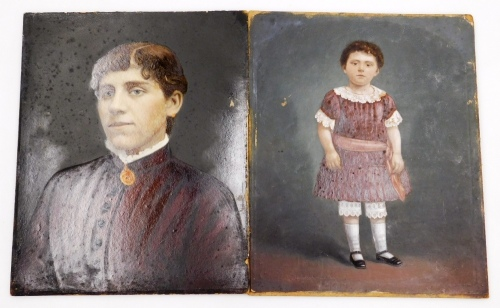Two 19thC over painted prints, comprising a portrait of a lady (quarter profile), over painted prints, unsigned, 41cm x 33cm and a portrait of a girl, possibly the sitter in the former picture at a younger age, over painted prints. (2, each unframed, AF)