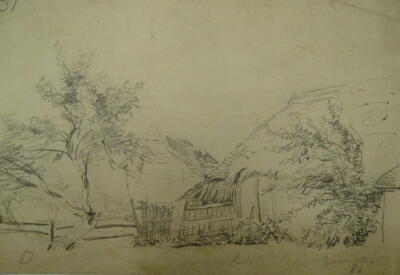 Thomas Sidney Cooper RA (1803-1902). Pencil sketch with part watermark J WHATMAN TURKEY MILL 18--, by T.S.Cooper, inscribed Biddle Farm Grinstead & dated 1834, 13.5cm x 19cm, thatched and tiled farm buildings, reverse pencil sketch of a farm wagon. Proven