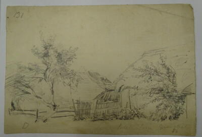Thomas Sidney Cooper RA (1803-1902). Pencil sketch with part watermark J WHATMAN TURKEY MILL 18--, by T.S.Cooper, inscribed Biddle Farm Grinstead & dated 1834, 13.5cm x 19cm, thatched and tiled farm buildings, reverse pencil sketch of a farm wagon. Proven - 2